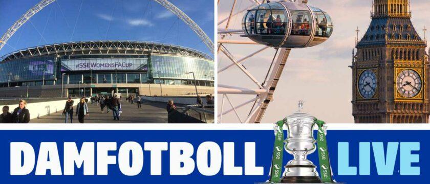 se damfotboll på Wembley